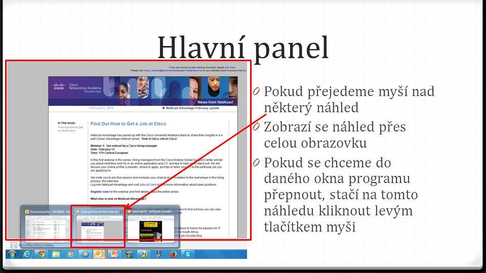 Hlavní panel Pokud přejedeme myší nad některý náhled