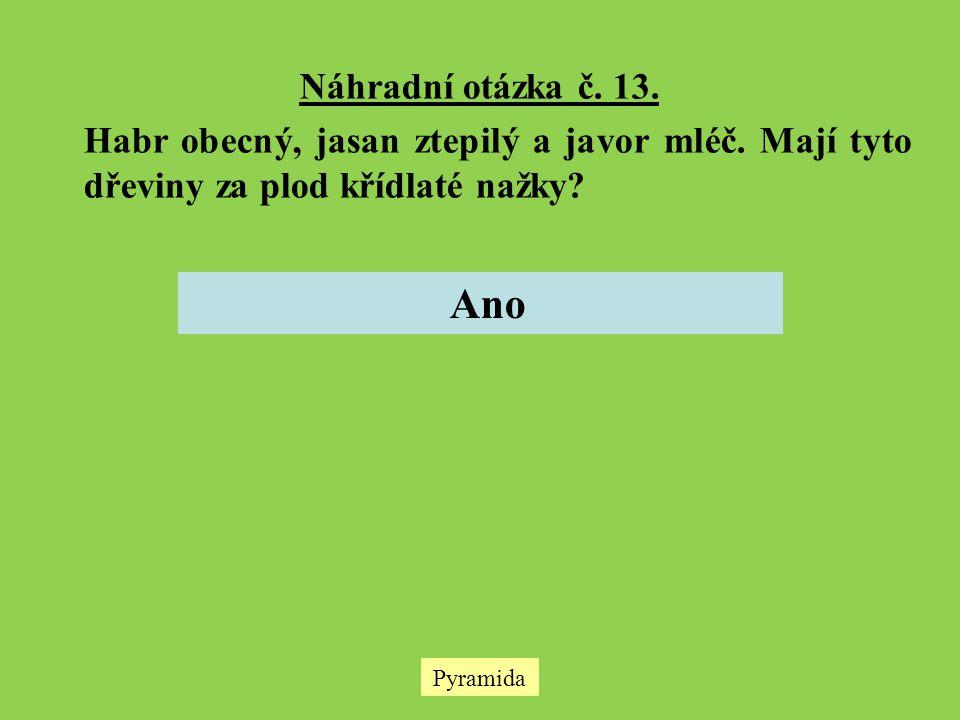Náhradní otázka č. 13. Habr obecný, jasan ztepilý a javor mléč. Mají tyto dřeviny za plod křídlaté nažky