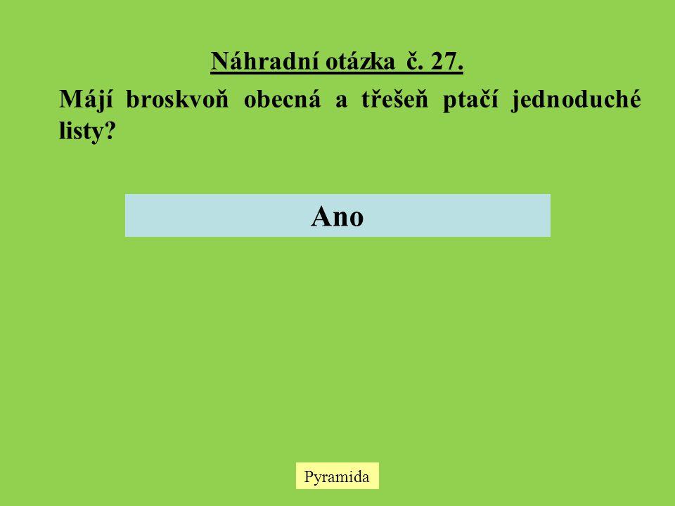 Náhradní otázka č. 27. Májí broskvoň obecná a třešeň ptačí jednoduché listy Ano Pyramida
