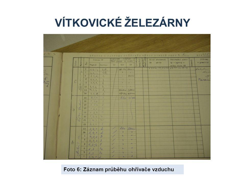 Vítkovické železárny Foto 6: Záznam průběhu ohřívače vzduchu