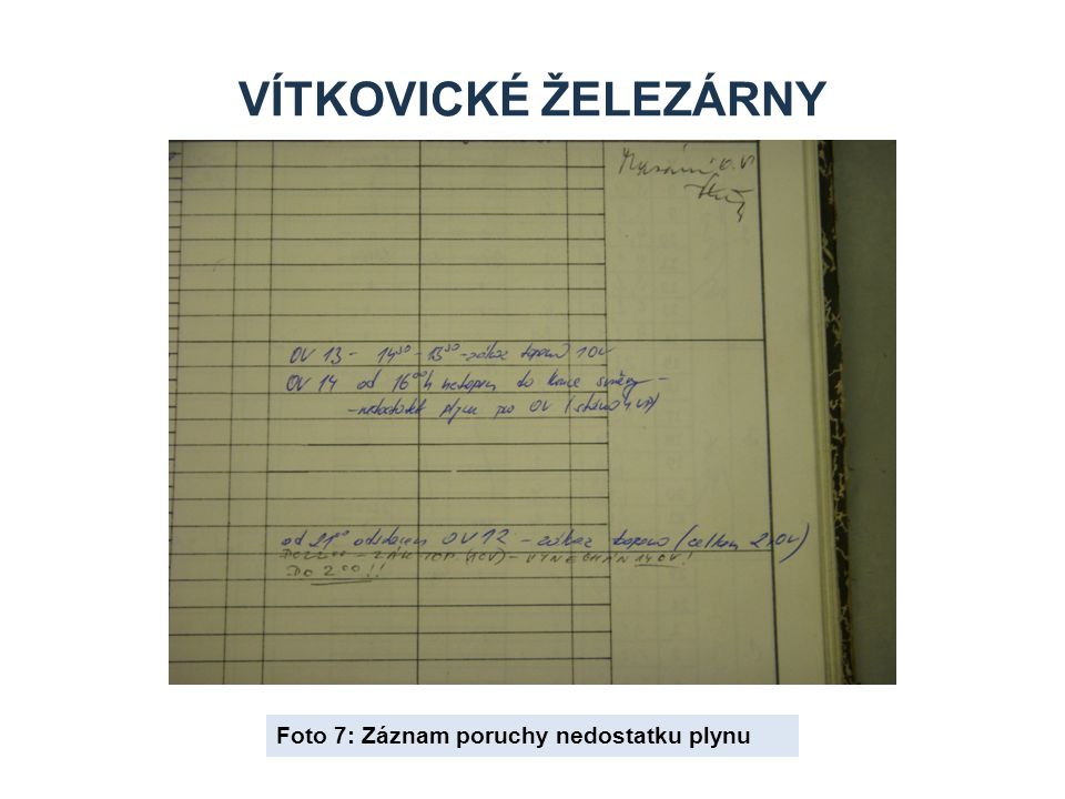 Vítkovické železárny Foto 7: Záznam poruchy nedostatku plynu