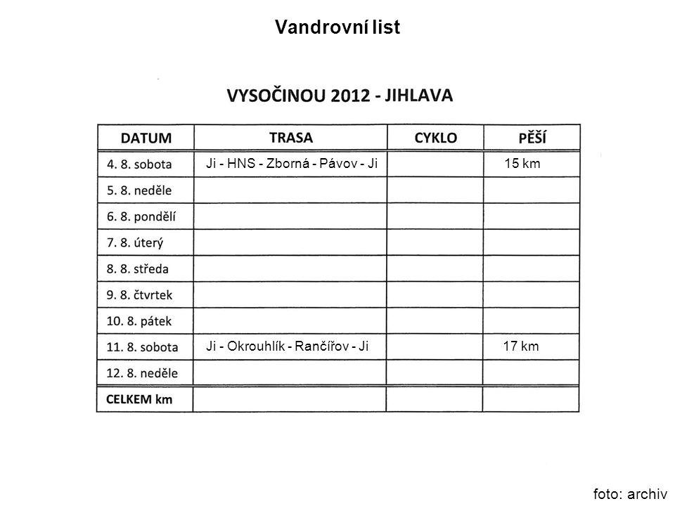 Vandrovní list foto: archiv Ji - HNS - Zborná - Pávov - Ji 15 km