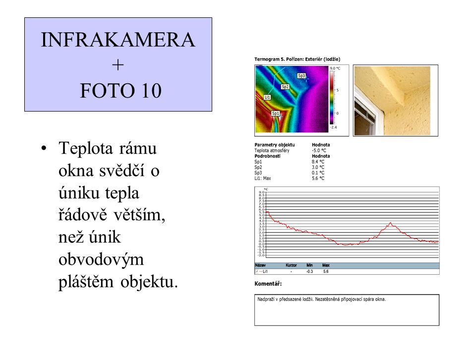 INFRAKAMERA + FOTO 10 Teplota rámu okna svědčí o úniku tepla řádově větším, než únik obvodovým pláštěm objektu.