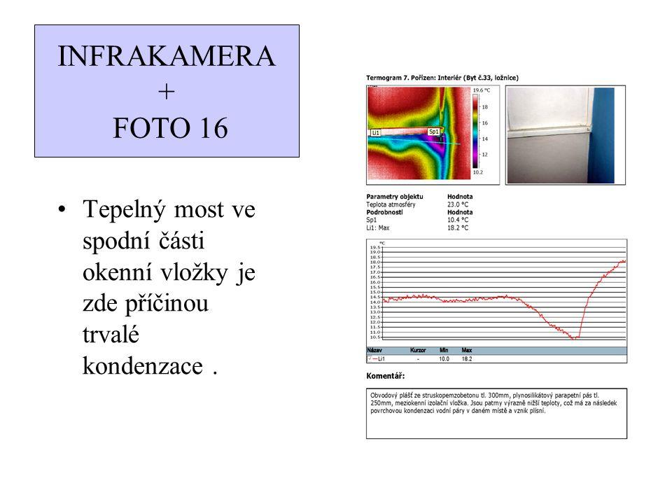 INFRAKAMERA + FOTO 16 Tepelný most ve spodní části okenní vložky je zde příčinou trvalé kondenzace .