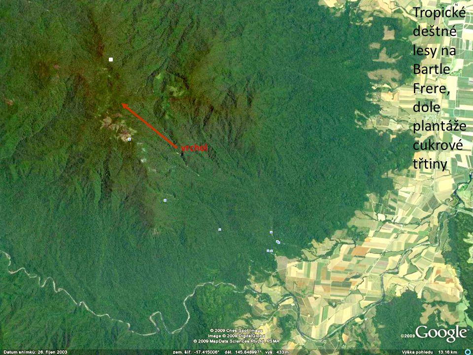 Tropické deštné lesy na Bartle Frere, dole plantáže cukrové třtiny