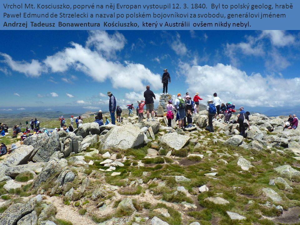 Vrchol Mt. Kosciuszko, poprvé na něj Evropan vystoupil 12. 3. 1840