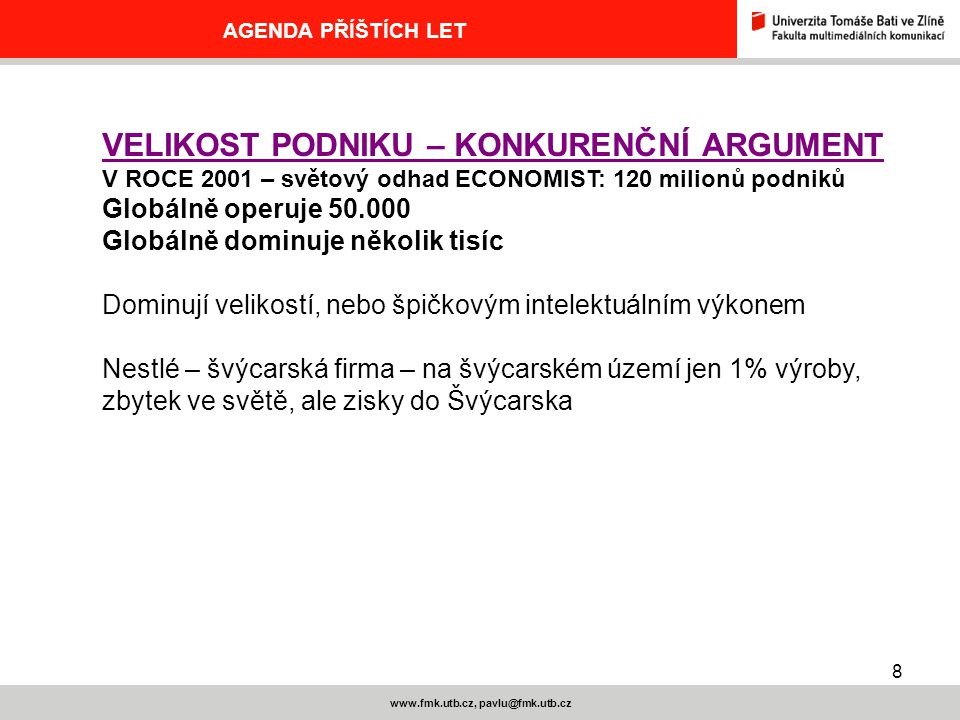 www.fmk.utb.cz, pavlu@fmk.utb.cz