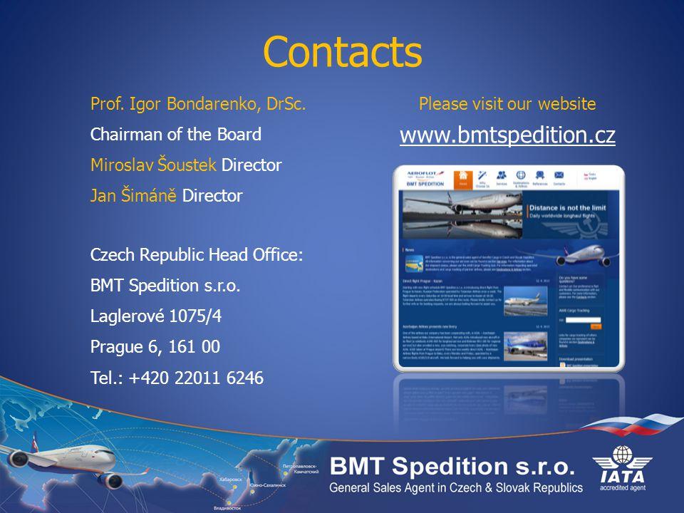 Contacts www.bmtspedition.cz Prof. Igor Bondarenko, DrSc.