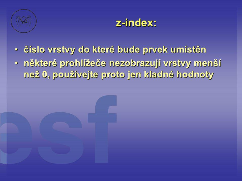 z-index: číslo vrstvy do které bude prvek umístěn