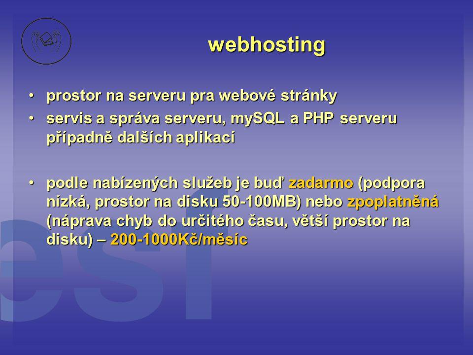 webhosting prostor na serveru pra webové stránky