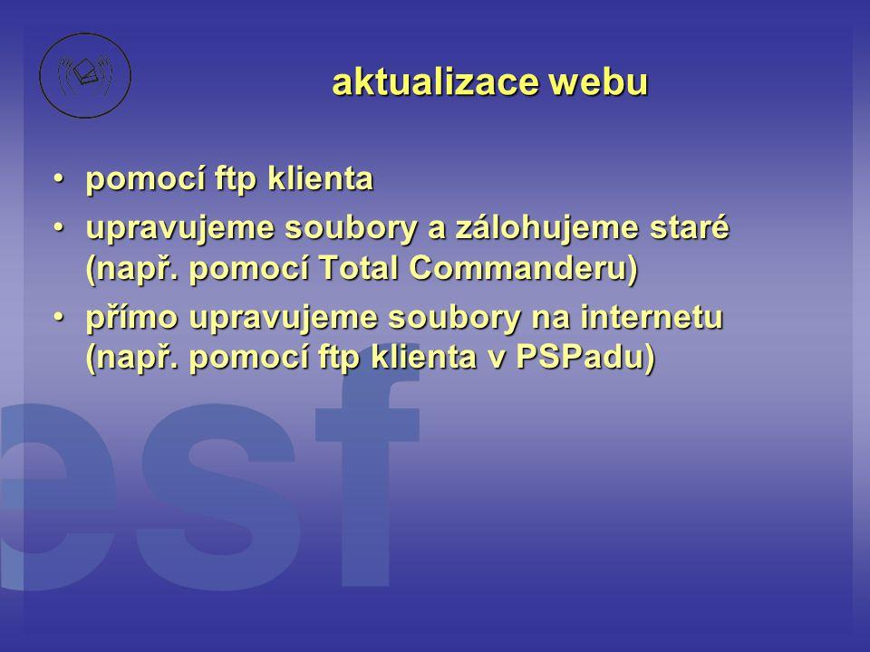 aktualizace webu pomocí ftp klienta