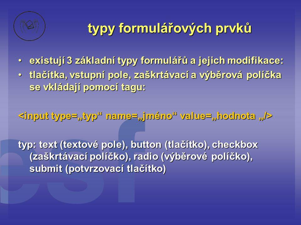 typy formulářových prvků