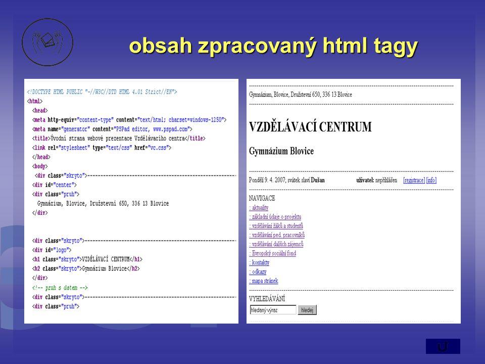 obsah zpracovaný html tagy