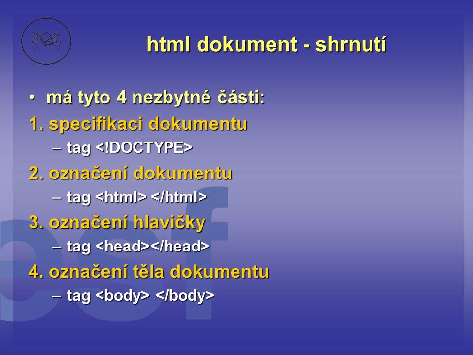 html dokument - shrnutí