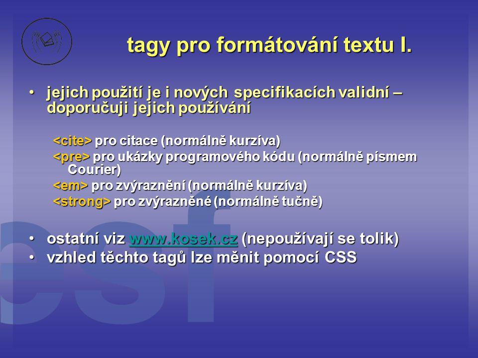 tagy pro formátování textu I.