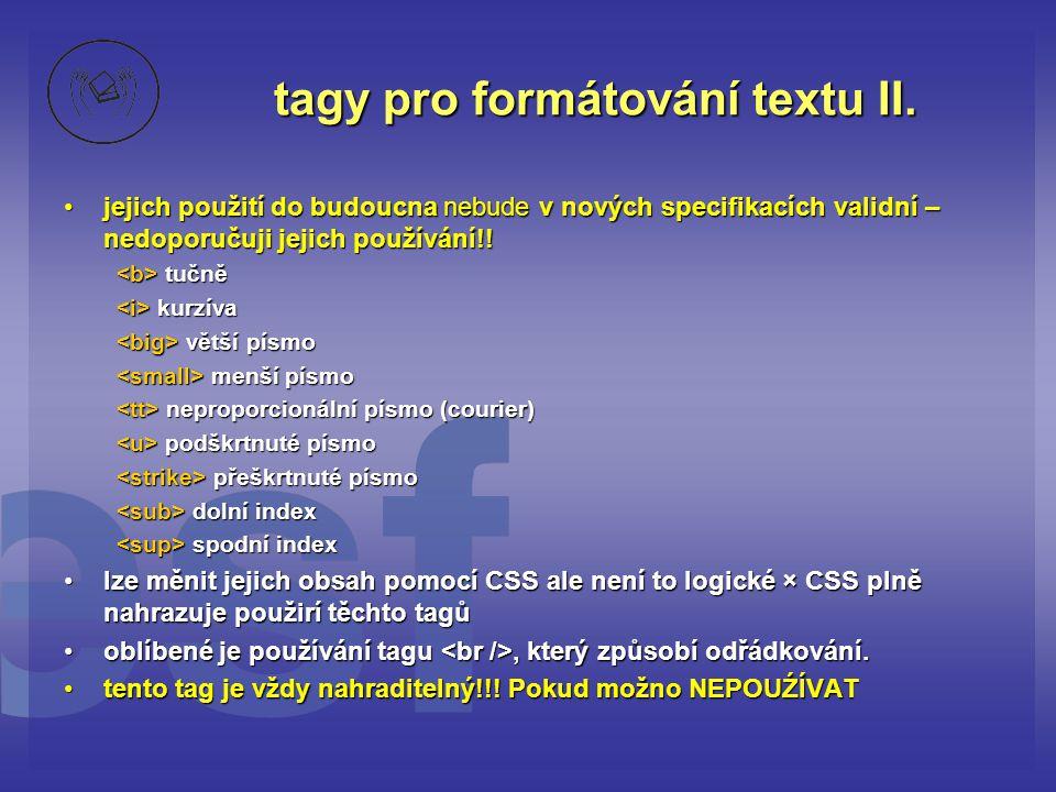 tagy pro formátování textu II.