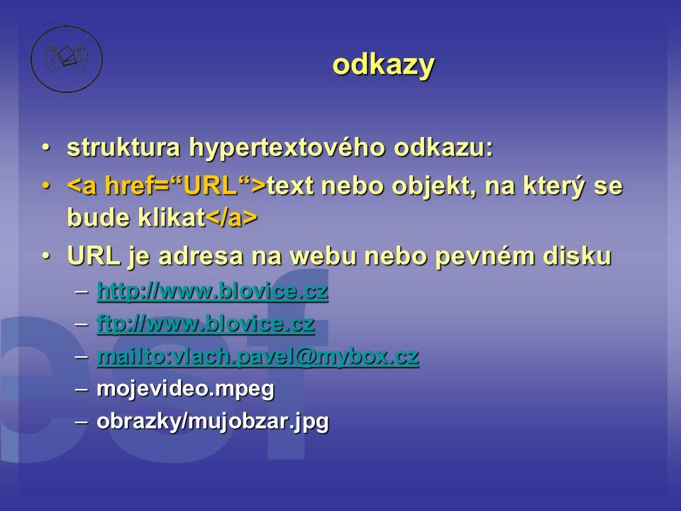 odkazy struktura hypertextového odkazu: