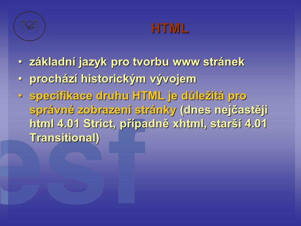 HTML základní jazyk pro tvorbu www stránek