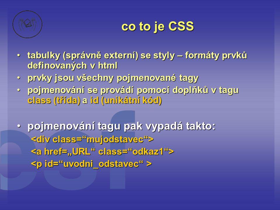 co to je CSS pojmenování tagu pak vypadá takto: