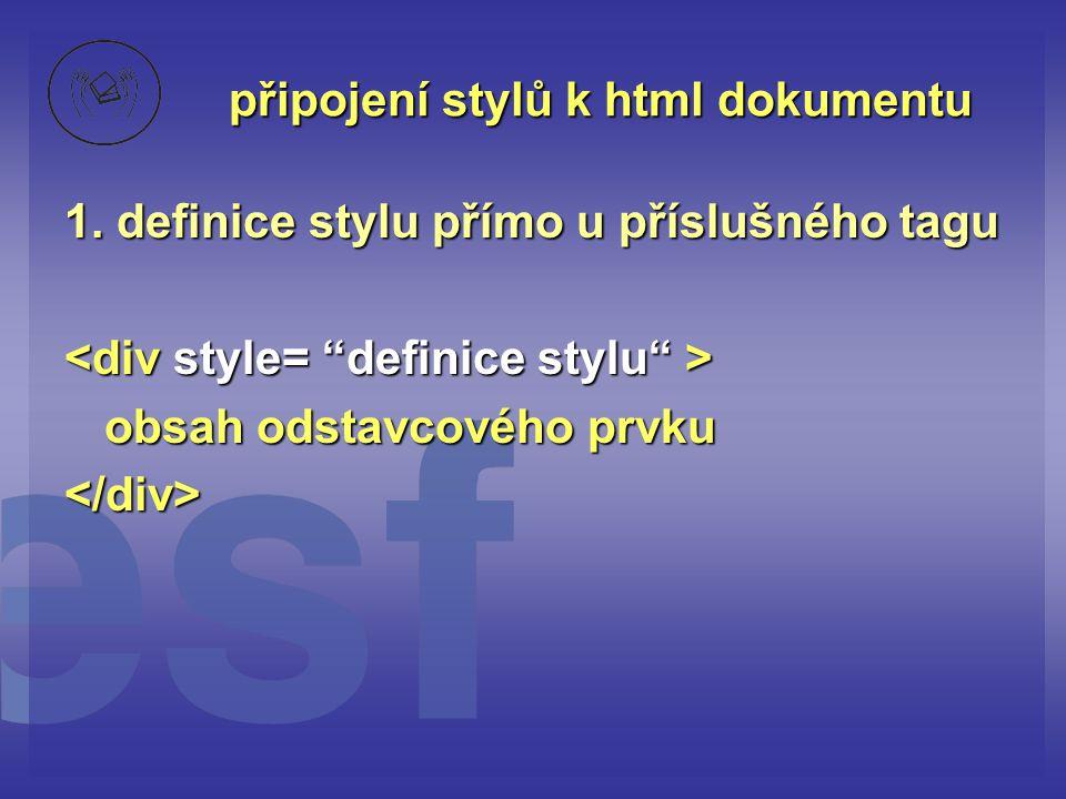připojení stylů k html dokumentu