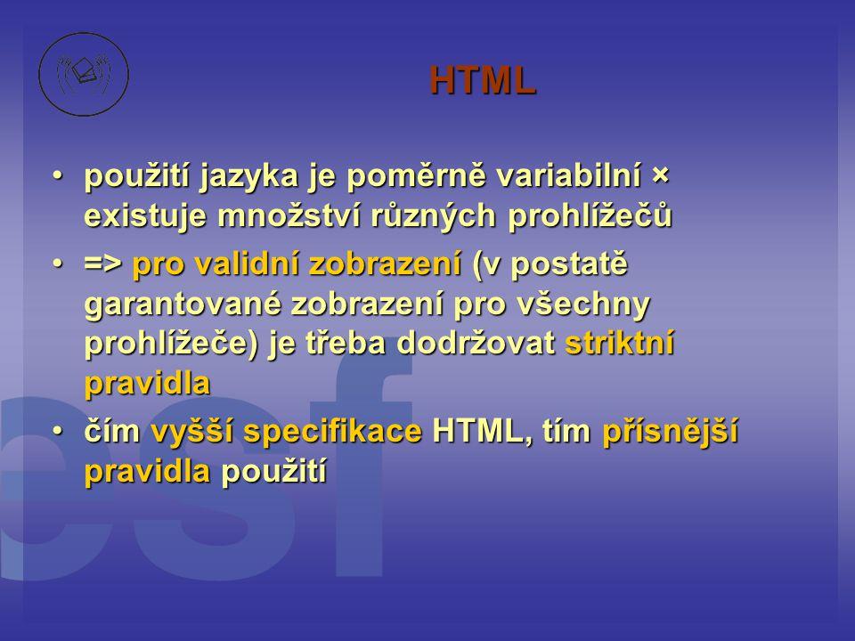 HTML použití jazyka je poměrně variabilní × existuje množství různých prohlížečů.