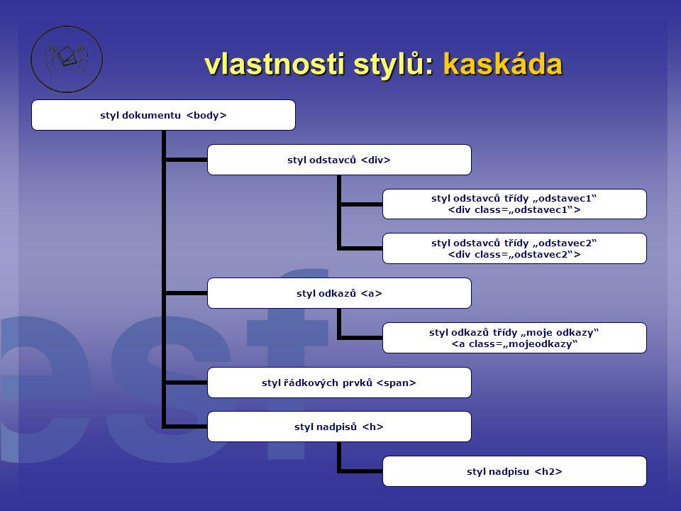 vlastnosti stylů: kaskáda