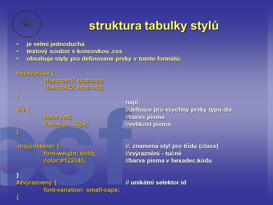 struktura tabulky stylů