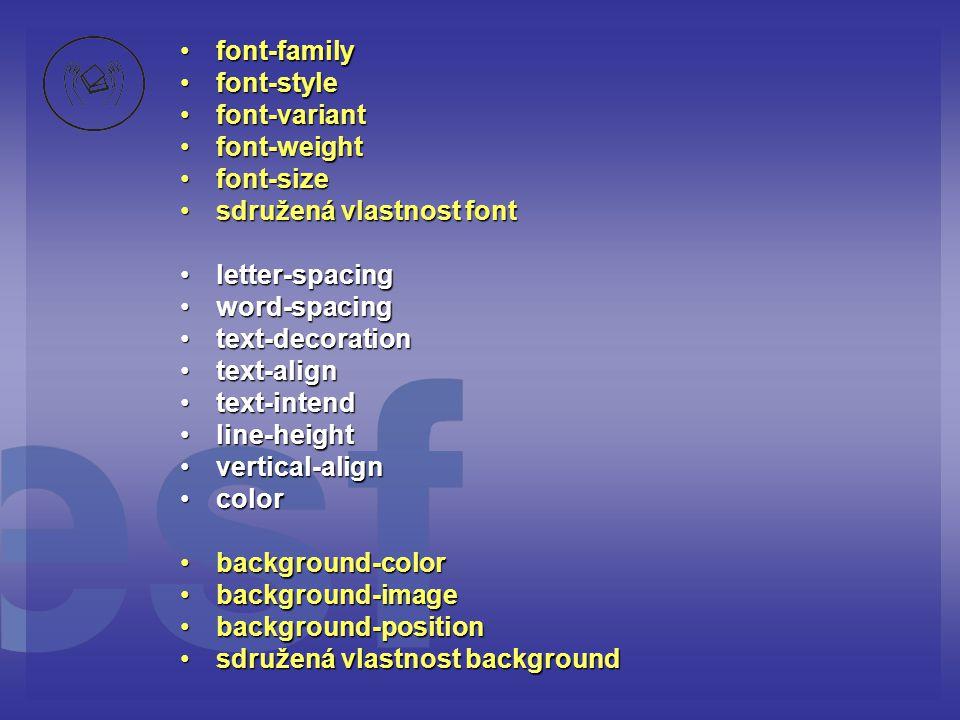 font-family font-style. font-variant. font-weight. font-size. sdružená vlastnost font. letter-spacing.