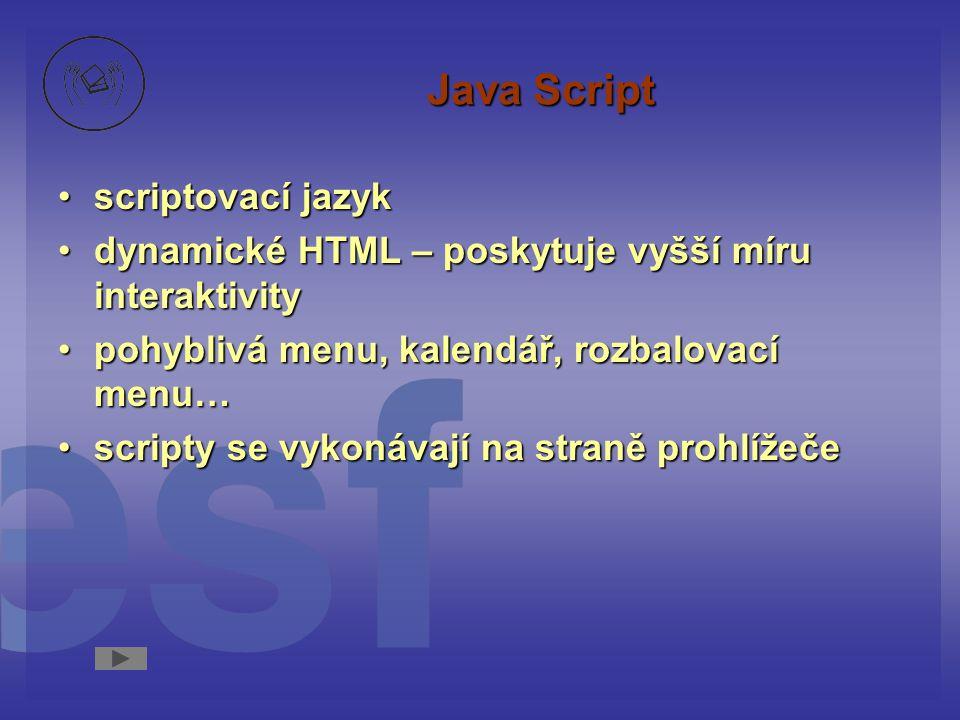 Java Script scriptovací jazyk