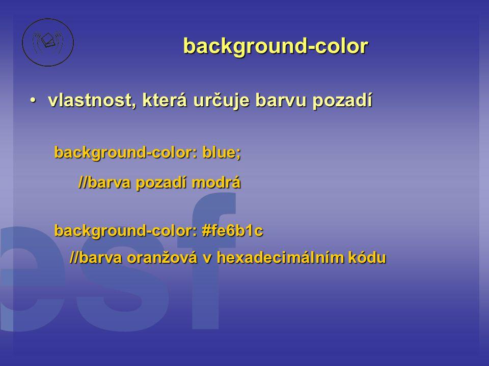 background-color //barva pozadí modrá