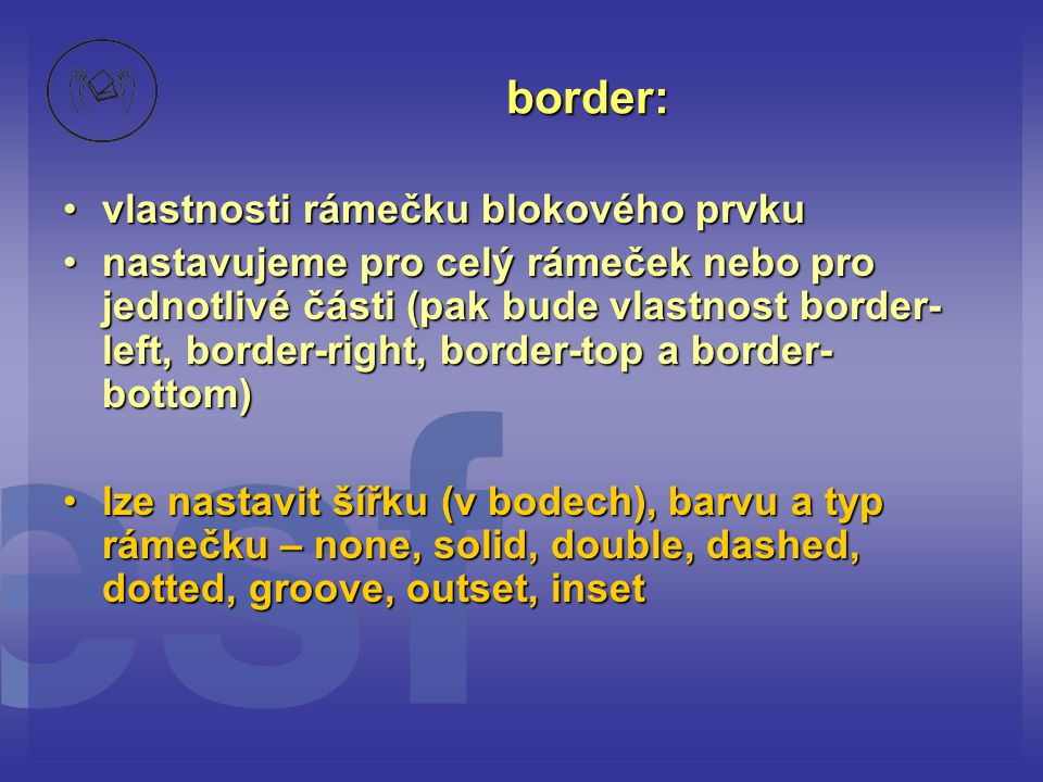 border: vlastnosti rámečku blokového prvku