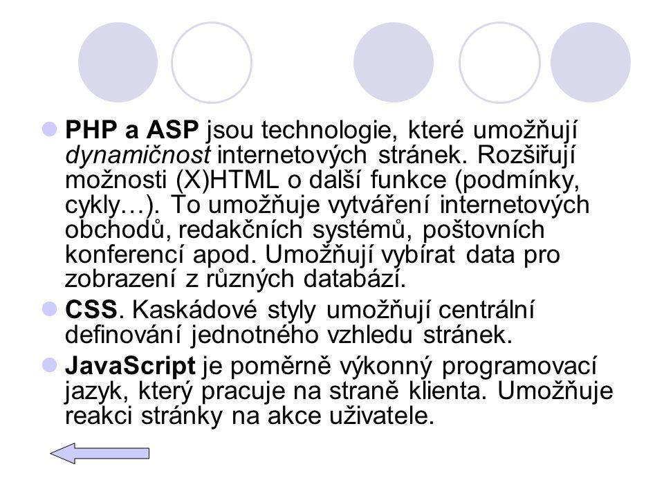 PHP a ASP jsou technologie, které umožňují dynamičnost internetových stránek. Rozšiřují možnosti (X)HTML o další funkce (podmínky, cykly…). To umožňuje vytváření internetových obchodů, redakčních systémů, poštovních konferencí apod. Umožňují vybírat data pro zobrazení z různých databází.