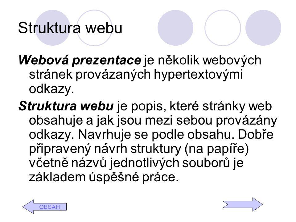 Struktura webu Webová prezentace je několik webových stránek provázaných hypertextovými odkazy.