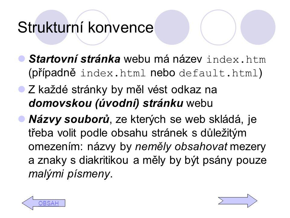 Strukturní konvence Startovní stránka webu má název index.htm (případně index.html nebo default.html)