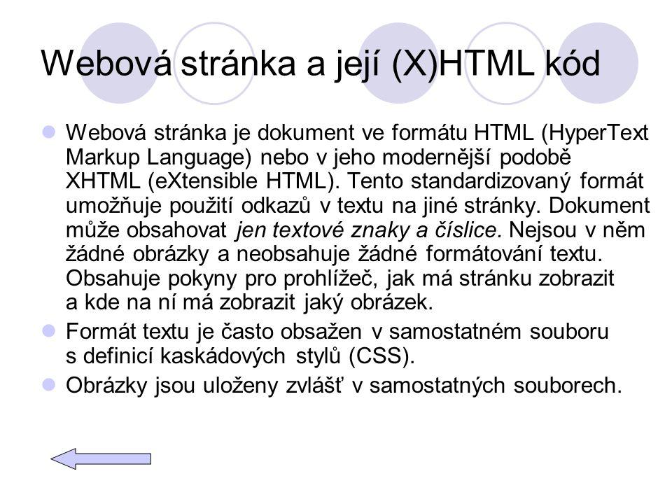 Webová stránka a její (X)HTML kód