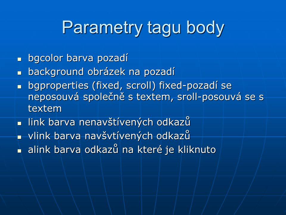 Parametry tagu body bgcolor barva pozadí background obrázek na pozadí