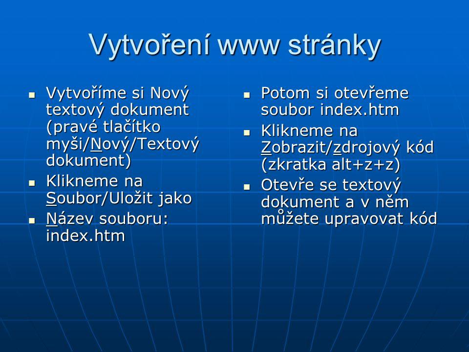 Vytvoření www stránky Vytvoříme si Nový textový dokument (pravé tlačítko myši/Nový/Textový dokument)