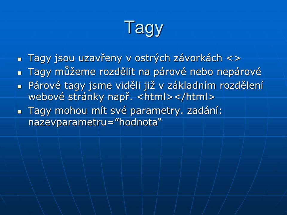 Tagy Tagy jsou uzavřeny v ostrých závorkách <>