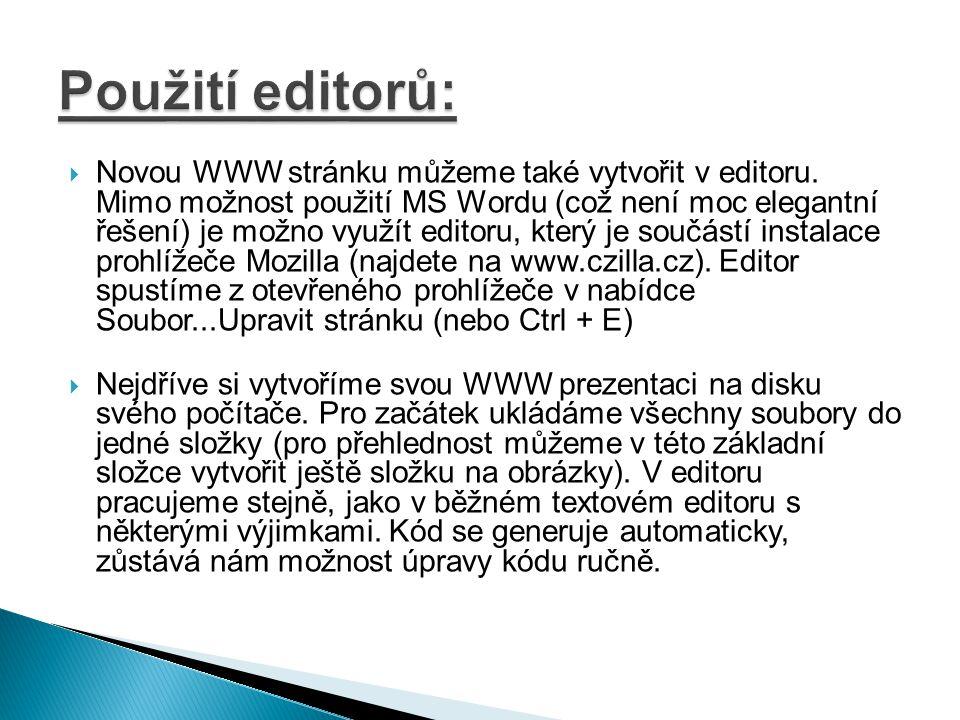 Použití editorů: