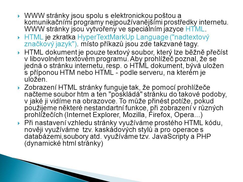 WWW stránky jsou spolu s elektronickou poštou a komunikačními programy nejpoužívanějšími prostředky internetu. WWW stránky jsou vytvořeny ve speciálním jazyce HTML.