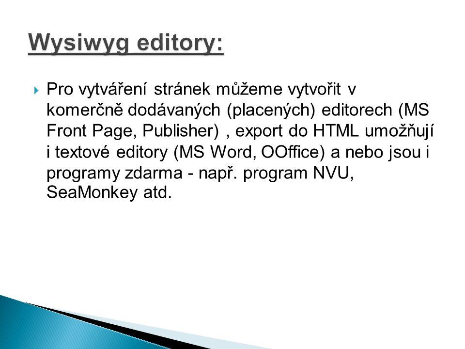 Wysiwyg editory: