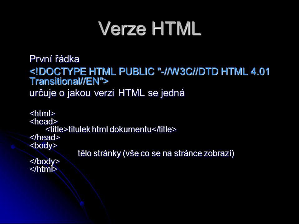 Verze HTML První řádka. <!DOCTYPE HTML PUBLIC -//W3C//DTD HTML 4.01 Transitional//EN > určuje o jakou verzi HTML se jedná.