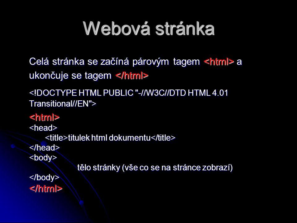 Webová stránka Celá stránka se začíná párovým tagem <html> a ukončuje se tagem </html>