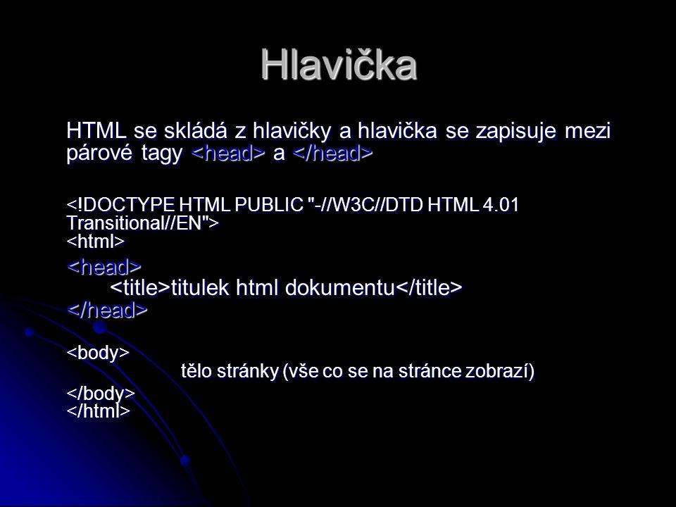 Hlavička HTML se skládá z hlavičky a hlavička se zapisuje mezi párové tagy <head> a </head>