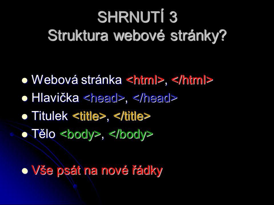 SHRNUTÍ 3 Struktura webové stránky