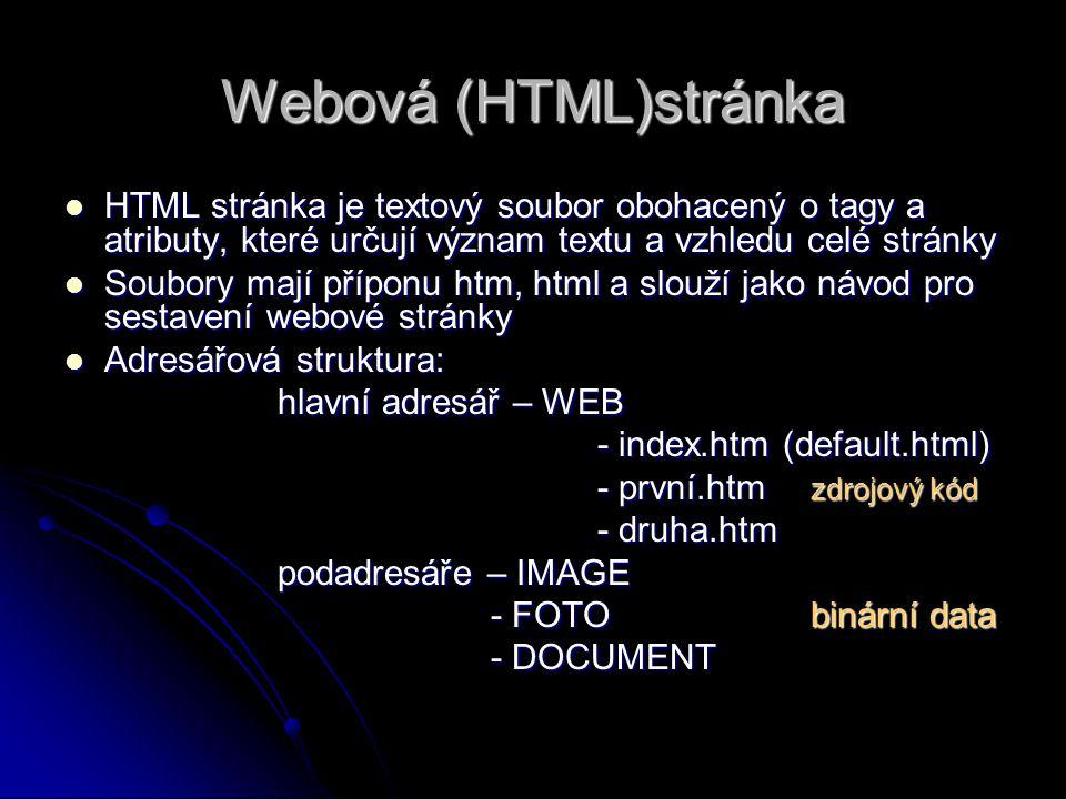 Webová (HTML)stránka HTML stránka je textový soubor obohacený o tagy a atributy, které určují význam textu a vzhledu celé stránky.