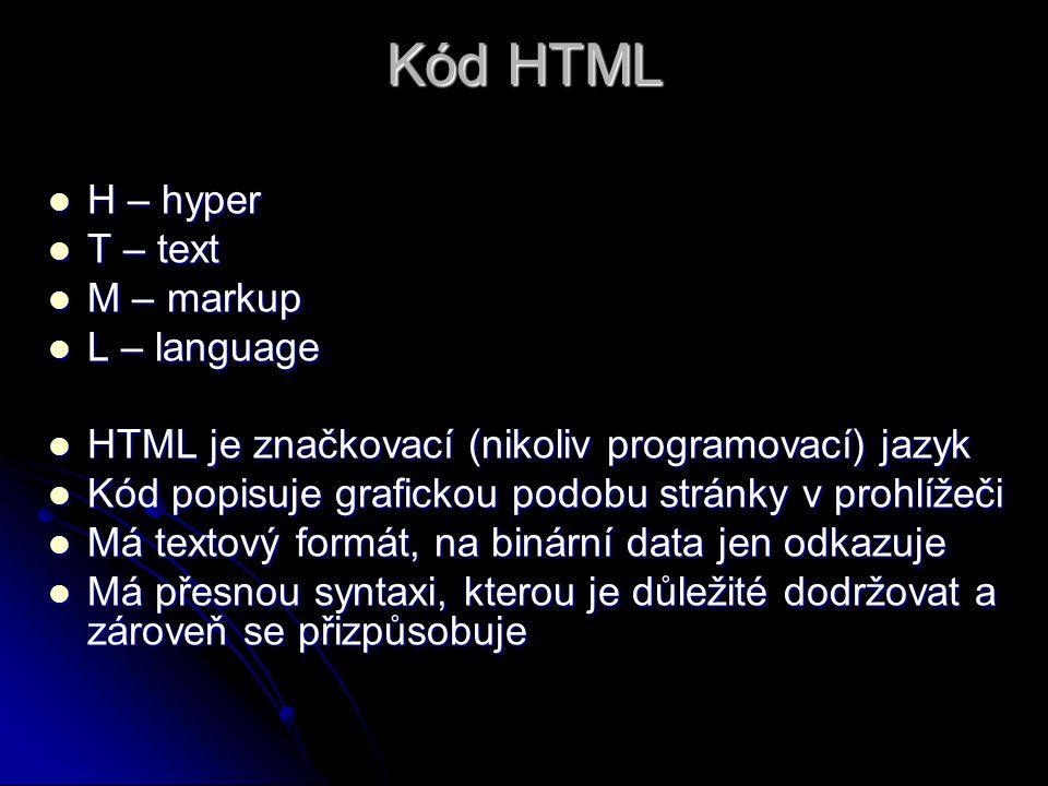 Kód HTML H – hyper T – text M – markup L – language