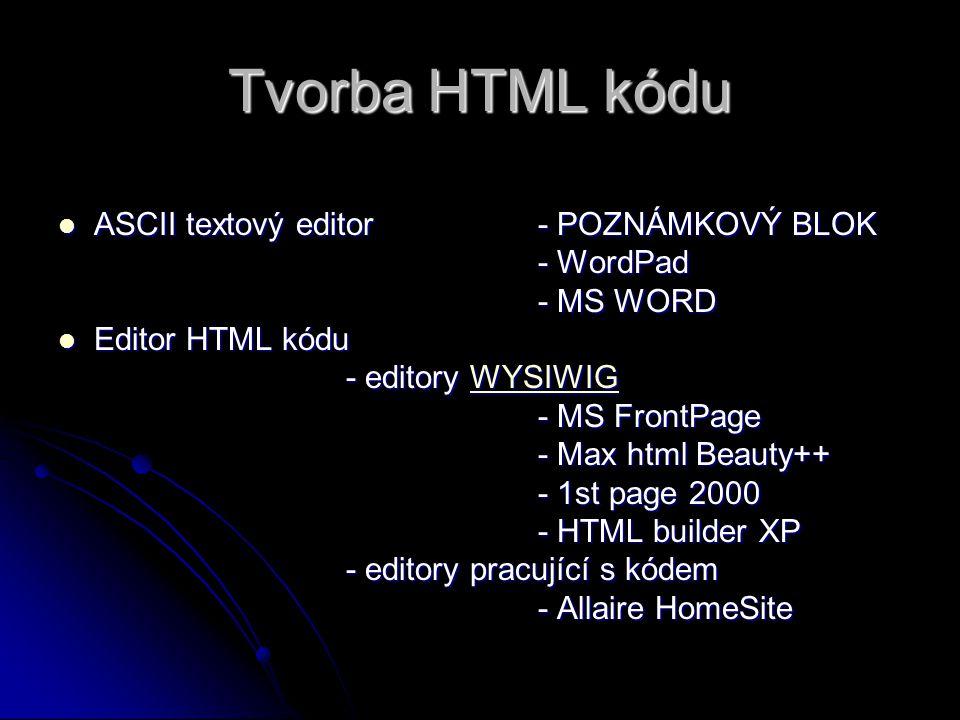 Tvorba HTML kódu ASCII textový editor - POZNÁMKOVÝ BLOK - WordPad