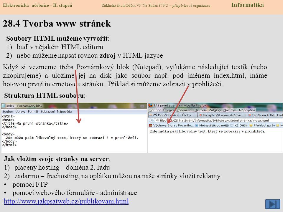 28.4 Tvorba www stránek Soubory HTML můžeme vytvořit: