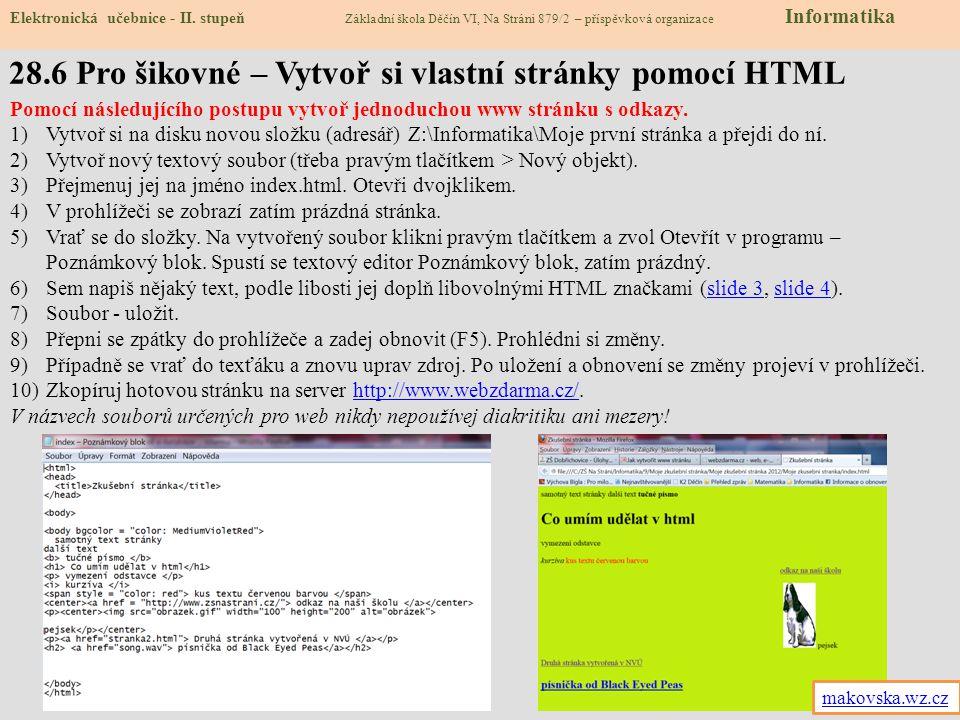 28.6 Pro šikovné – Vytvoř si vlastní stránky pomocí HTML